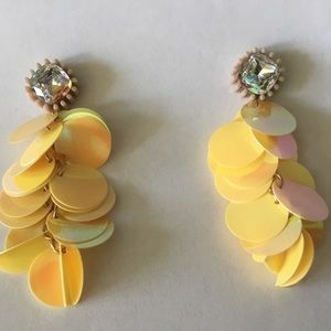 Jewelry - Shiny Yellow and Rhinestone Earrings